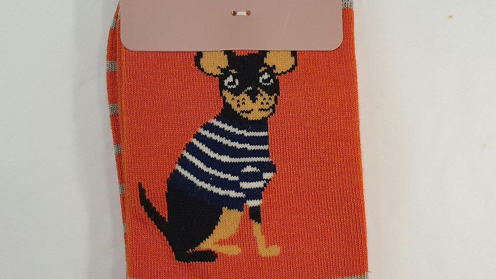 Miss Sparrow Bamboo Socks Chihuahua Stripes Orange
