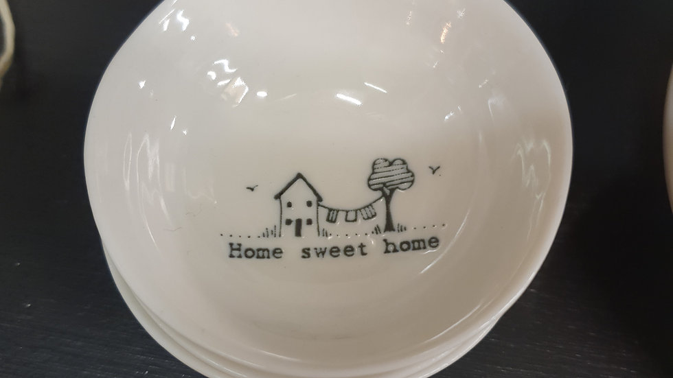 Ceramic Wobbly Trinket Bowl Small Home Sweet Home