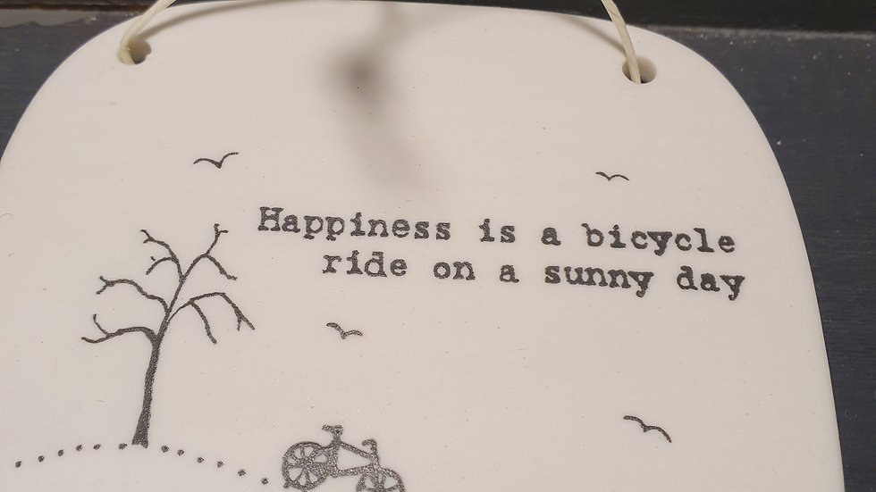 Ceramic Hanging Sign Happiness is a Bicycles Ride