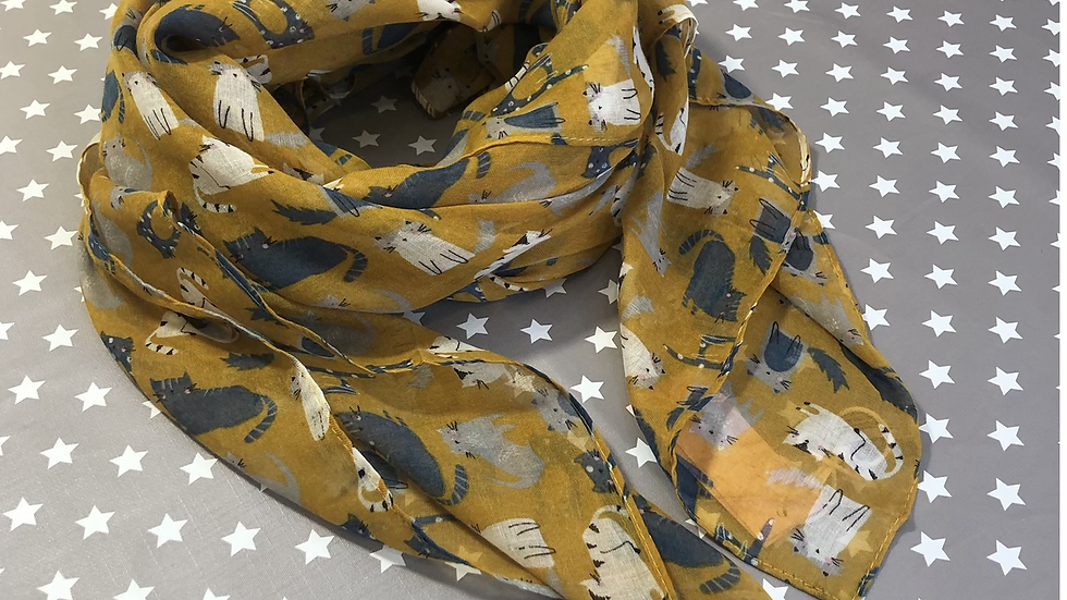 Cats on mustard scarf