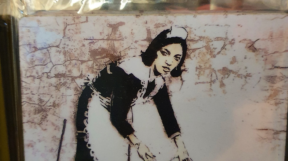 Banksy Wooden Coaster Maid In London