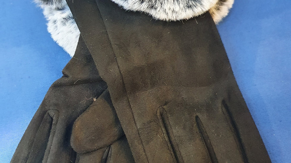 Charcoal Gloves with Faux Fur Cuff