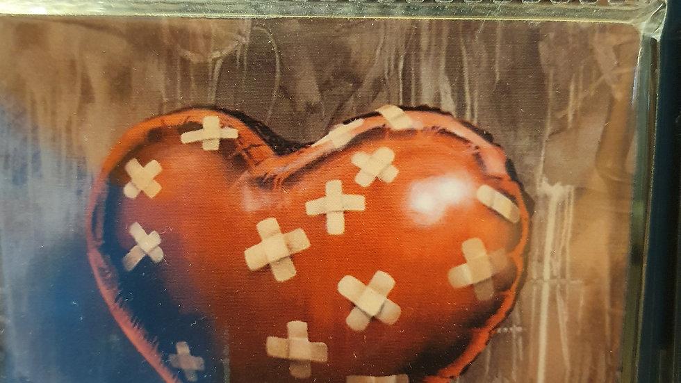 Banksy Wooden Coaster Heart Plasters