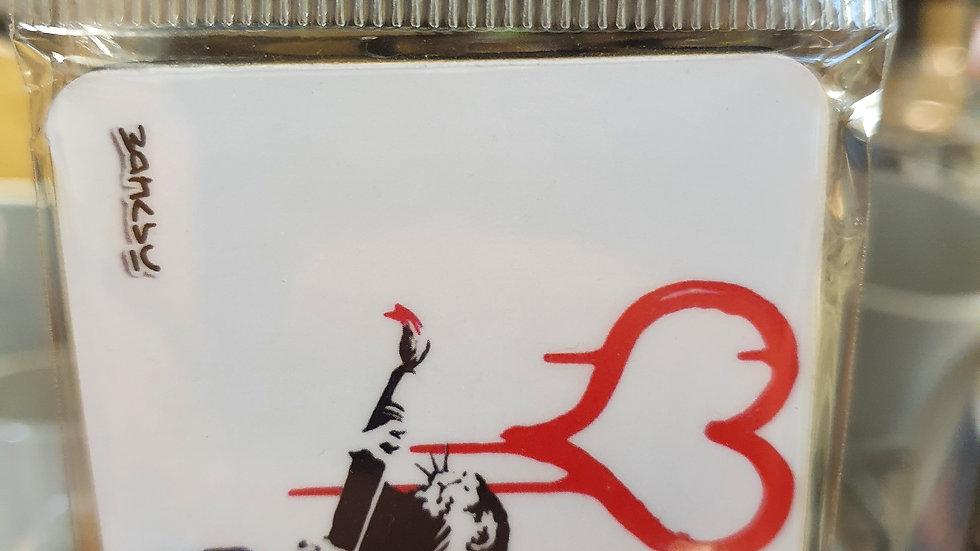 Banksy Wooden Magnet Love Rat