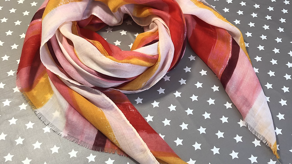 Pink, red, orange, and yellow stripe scarf