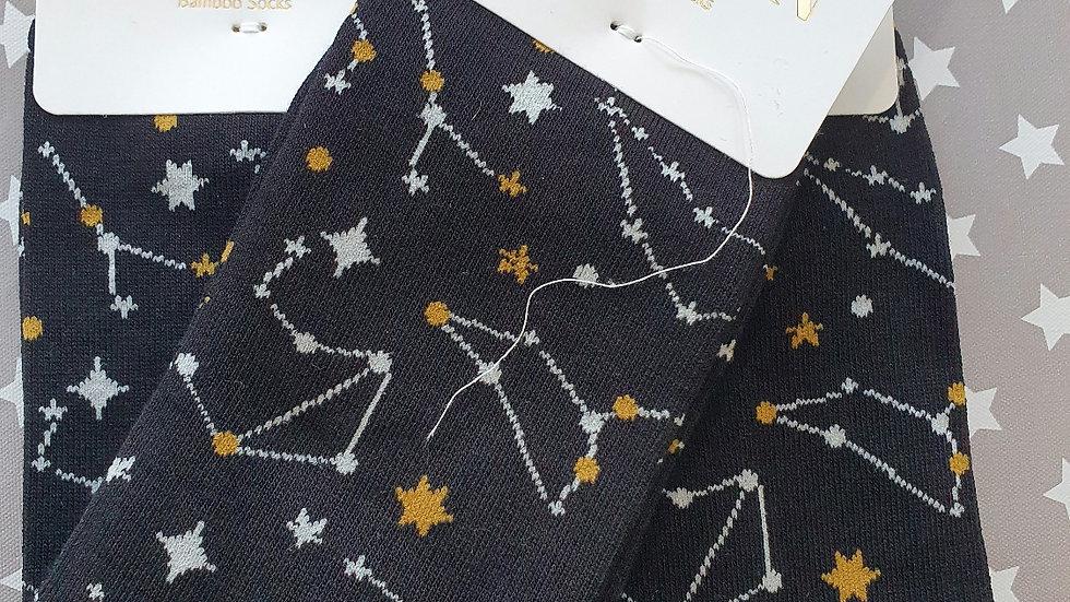 Mr Heron Bamboo Socks Star Sign Black