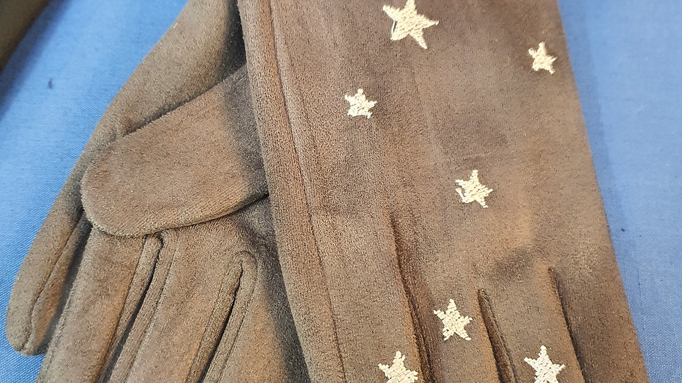 Soft Grey Gloves with Stars