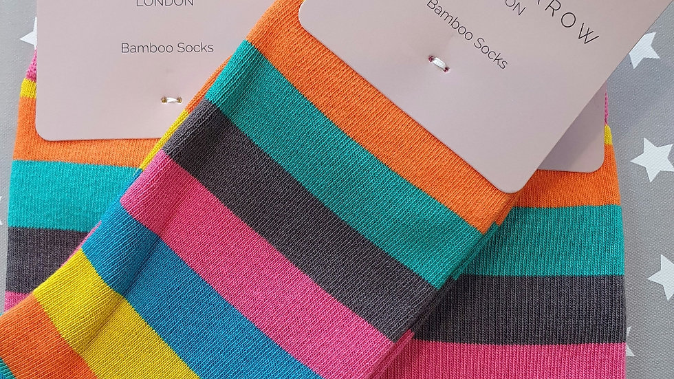 Miss Sparrow Bamboo Socks Thick Stripes Bright