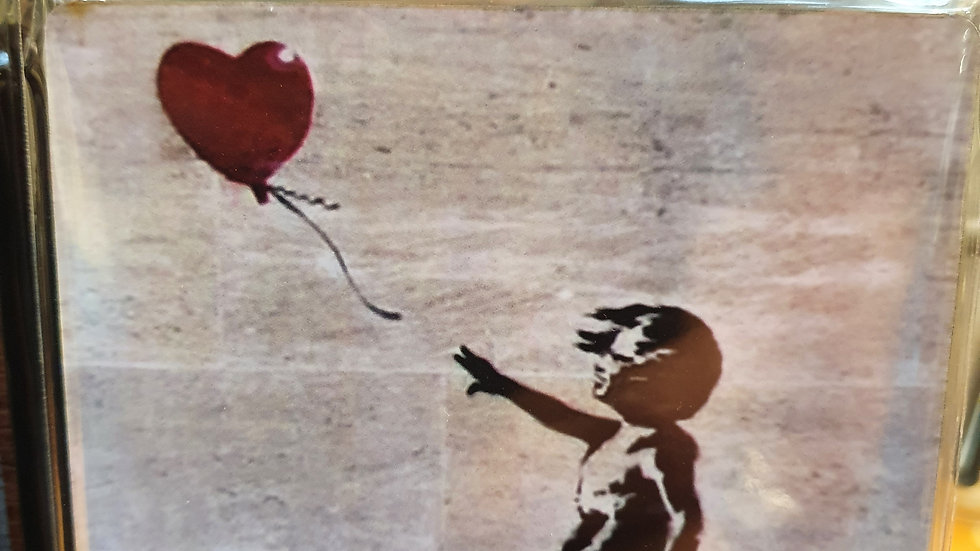 Banksy Wooden Coaster Heart Blown Away