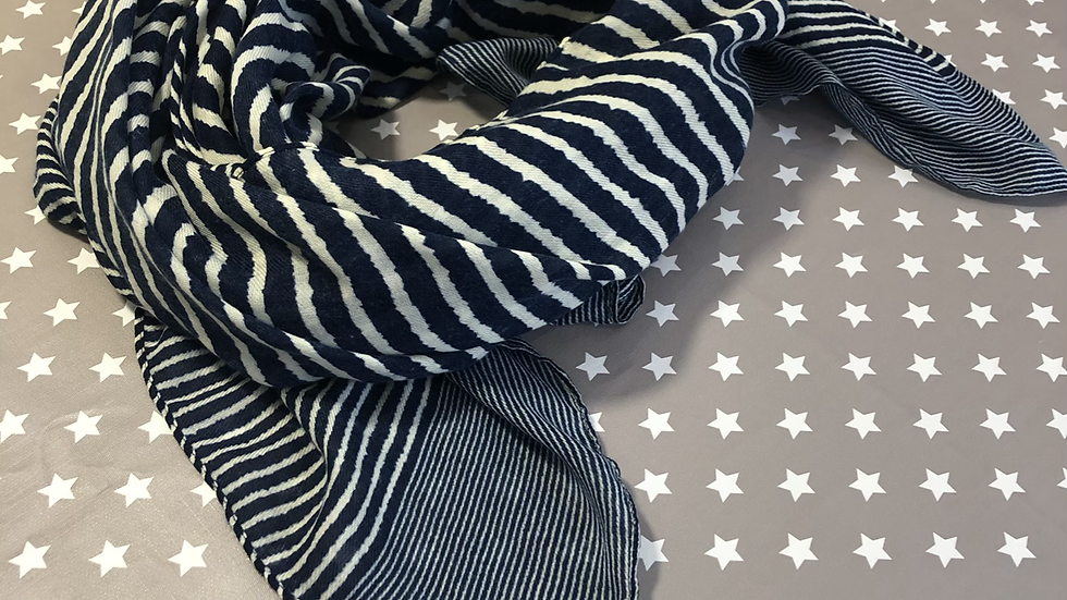 Navy and white stripe scarf