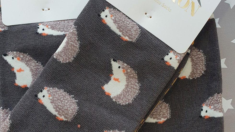Mr Heron Bamboo Socks Cute Hedgehog Grey
