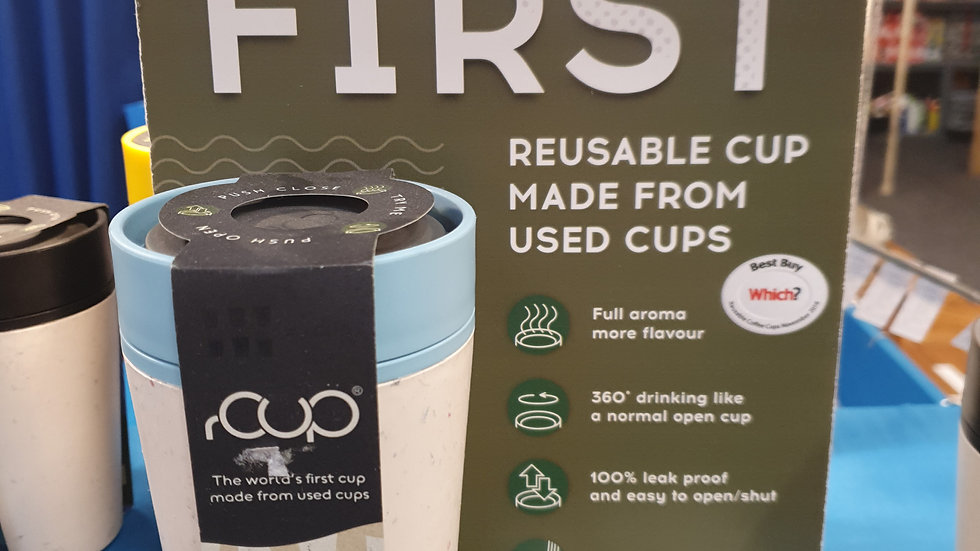 rCUP Reusable Cup Blue and Cream 12oz