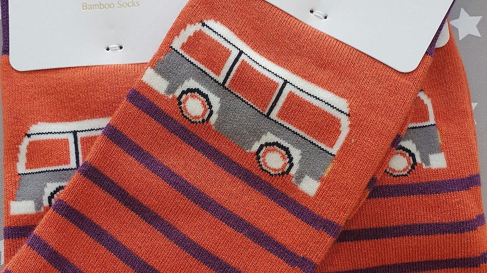 Mr Heron Bamboo Socks Camper Stripes Orange