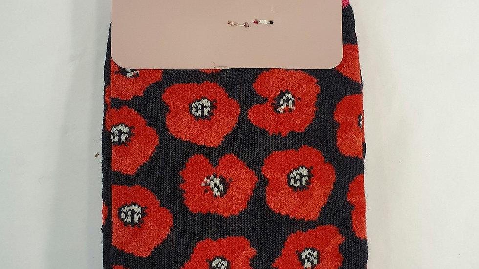 Miss Sparrow Bamboo Socks Poppies Black
