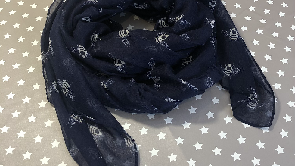 White bee on navy Scarf