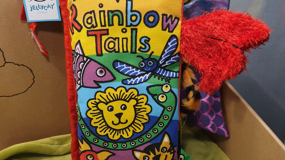 Jellycat Rainbow Tails Fabric Book