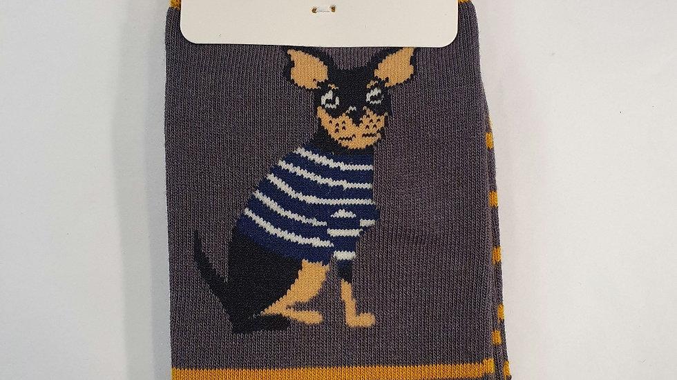 Mr Heron Bamboo Socks Chihuahua Stripe Grey