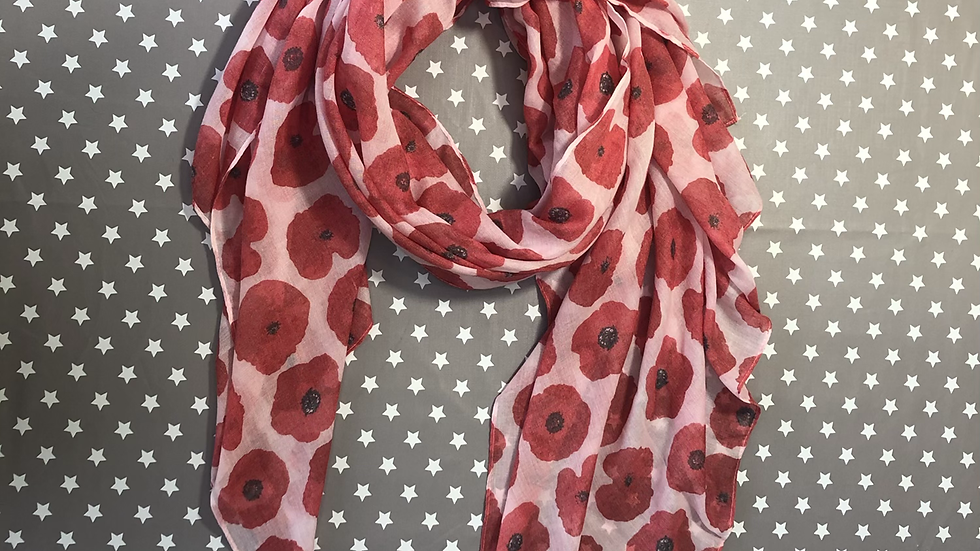 Poppy on pale pink Scarf