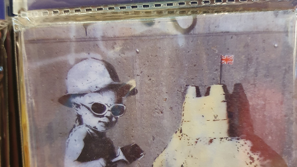Banksy Wooden Coaster Sandcastles