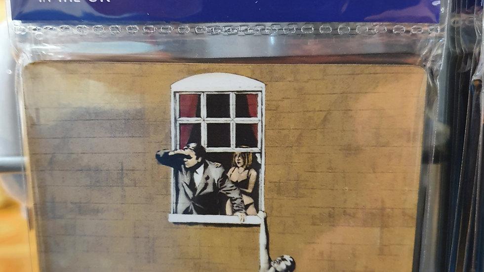 Banksy Wooden Coaster Naked Man