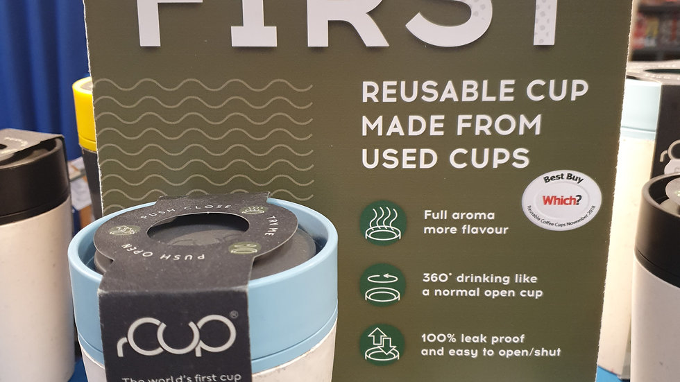 rCUP Reusable Cup Blue and Cream 8oz