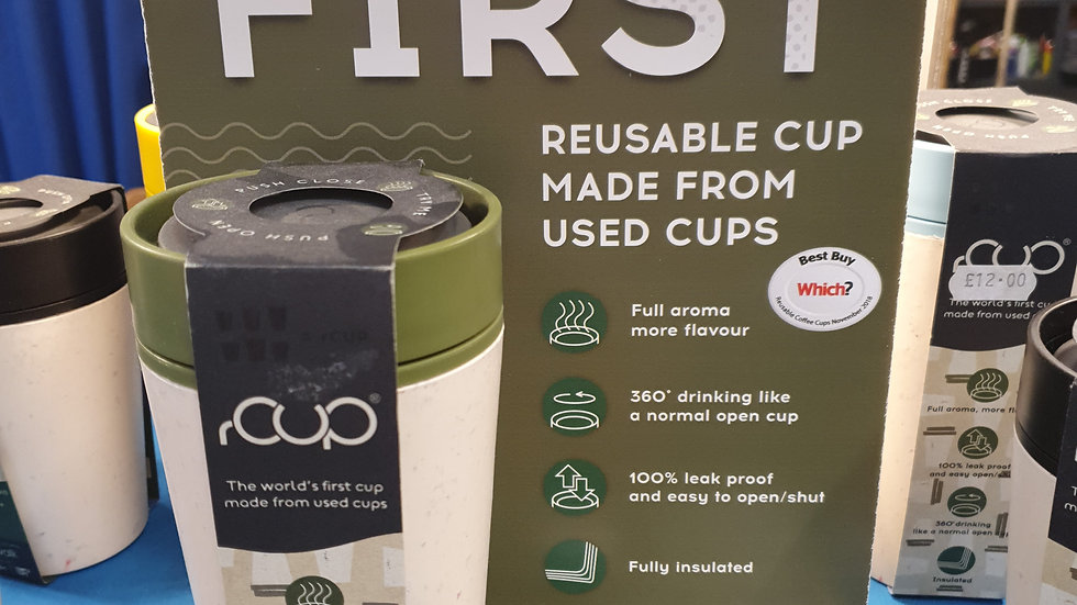 rCUP Reusable Cup Green and Cream 12oz