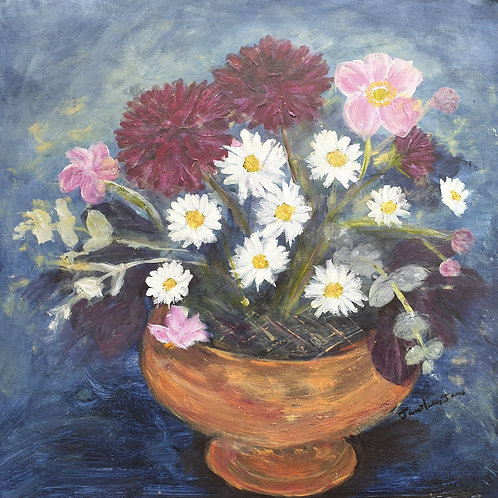 Dahlias, anemones and daisies in a copper bowl