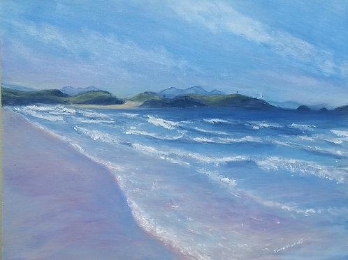 Llanddwyn island and Snowdonia from Llanddwyn beach