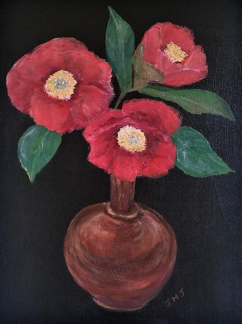 Camellias in a copper vase