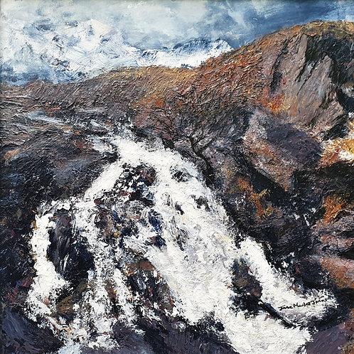 Snowdonia waterfall in winter