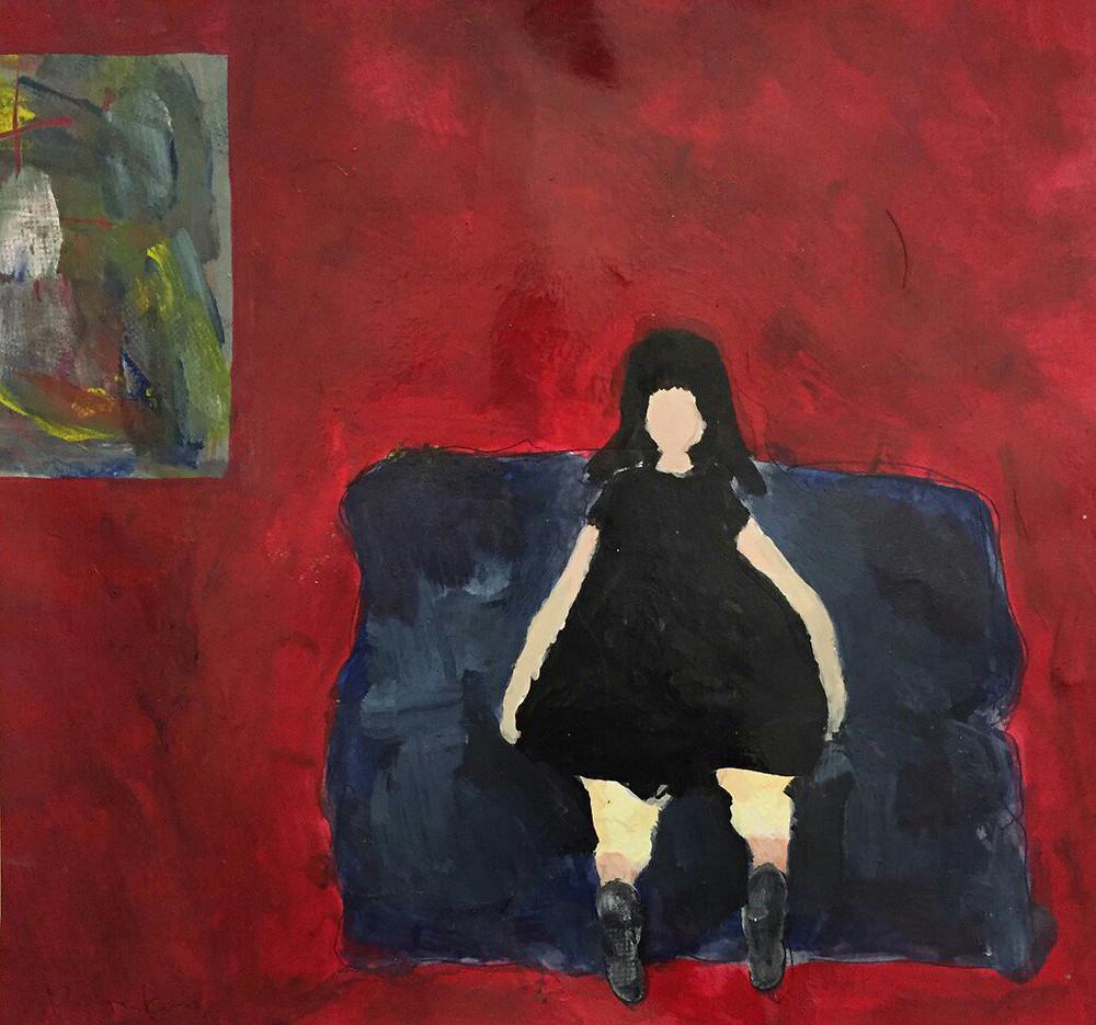 僕のアリスは黒髪で黒い服 Mixed media on paper 25×25cm