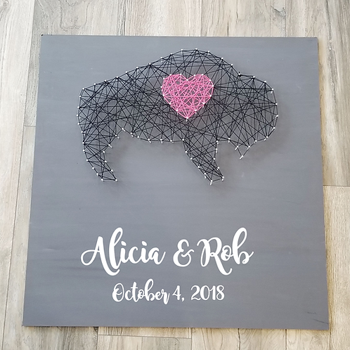 "24"" x 24"" Custom String Art Guest Book"