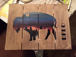 Buffalo Sunset Pallet Art