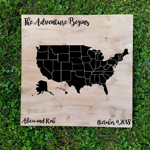 "24"" x 24"" Custom Travel Map Guest Book"