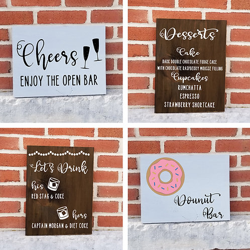 Shipped - Food & Drink Wedding Signs