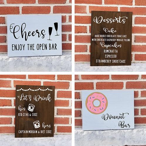 Food & Drink Wedding Signs