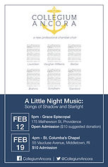 Collegium Ancora, February concert, poster, a little night music, st columbas