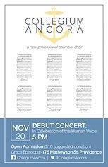 Collegium Ancora, debut concert, poster, 2016