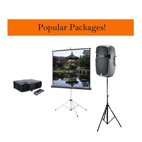 Projector + Screen + Portable Speaker