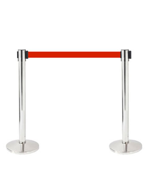 Gold, silver Queue Pole with Retractable Black, red, blue strap