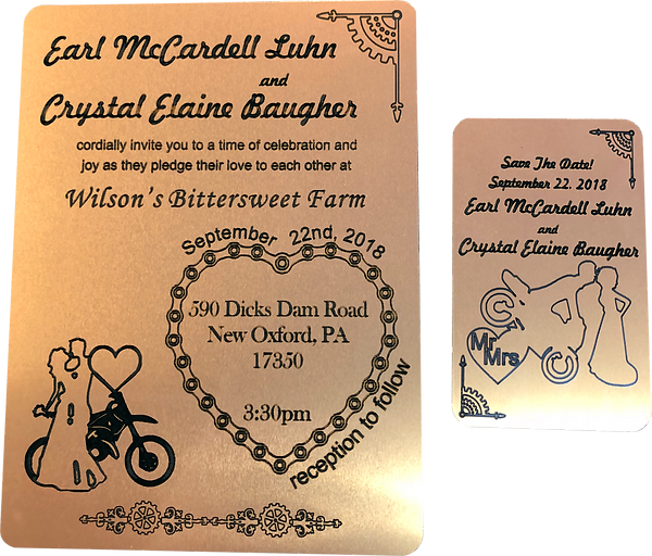 Etched brass invitation and etched brass Date card.