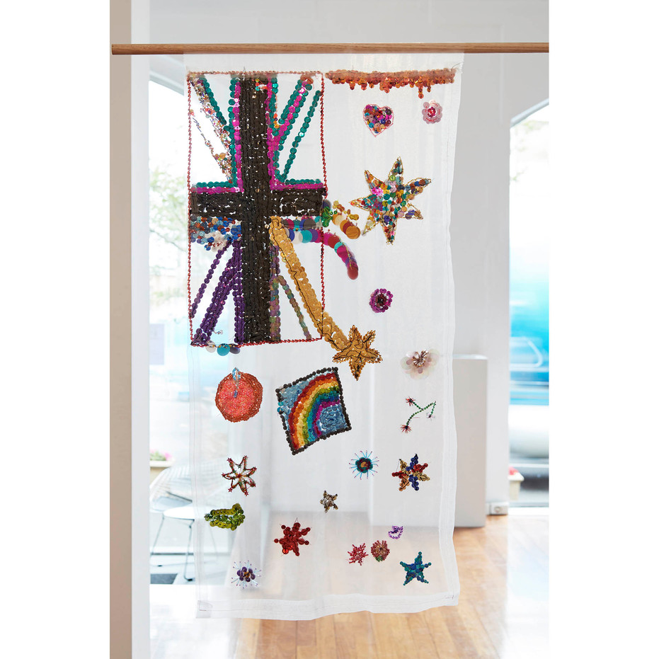 Community Participatory Embroidery, Untitled (flag)  2017 Facilitated by Liam Benson  glass seed and bugle beads, sequins, cotton, organza, timber, steel  130 x 49 cm   Museum of Contemporary Art, gift of the artist, 2018