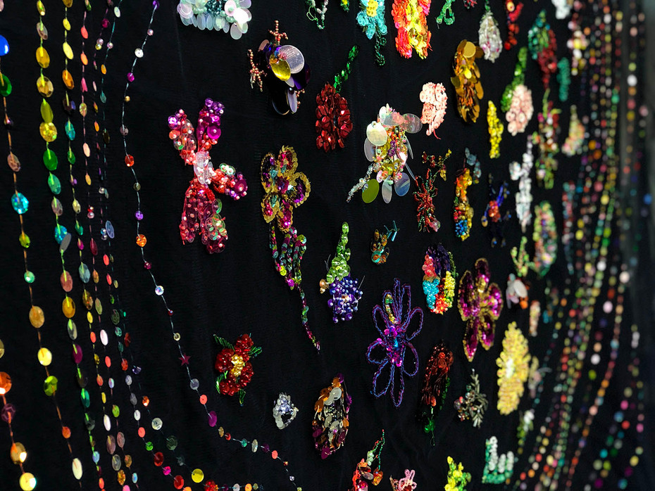 Community Participatory Embroidery, Thoughts and Prayers, 2015 - 2018 Facilitated by Liam Benson  glass and acrylic seed beads, bugle beads, sequins, cotton, tulle 280cm x 300cm