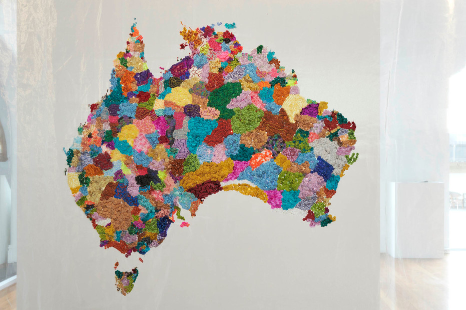 Community Participatory Embroidery, You and Me  2013-17 Facilitated by Liam Benson  glass seed and bugle beads, sequins, cotton, organza, steel  132 x 223 cm  Museum of Contemporary Art, gift of the artist, 2018