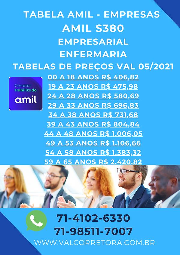 pme amil S380 tabelas de valores Amil empresas - Bahia
