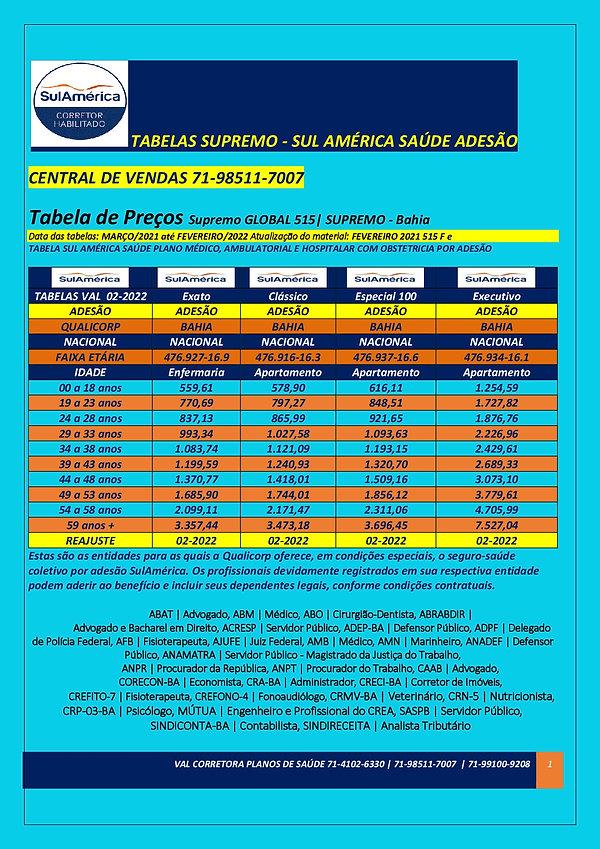 BA SULAMERICA  05-2022 TABELAS DE VALORES PLANOS DE SAUDE