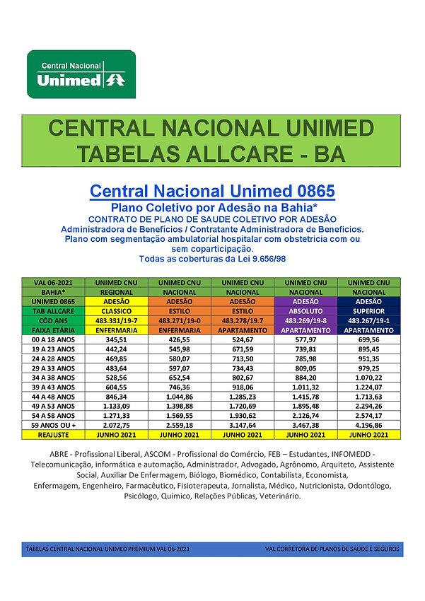 TABELAS DE PRECOS PLANOS DE SAUDE CENTRAL NACIONAL UNIMED NA BAHIA