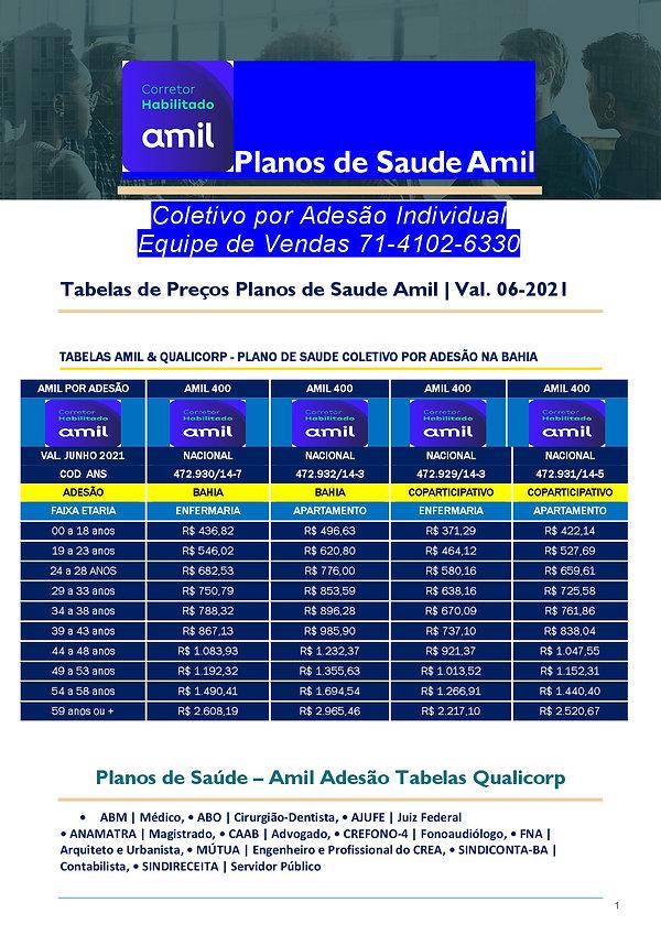 TABELAS ATUALIZADAS PLANO DE SAUDE SALVADOR