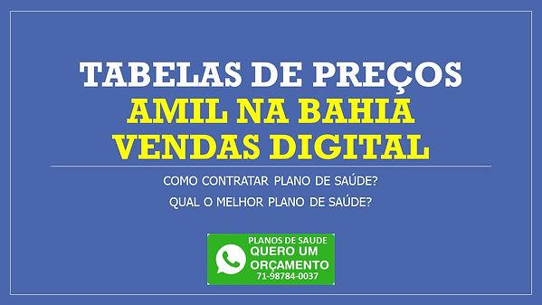 AMIL BAHIA TABELAS DE PREÇOS