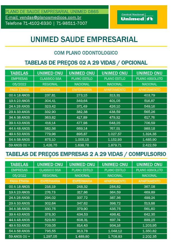 TABELA COMPARATIVA DE PREÇOS PLANOS DE SAUDE EMPRESARIAIS